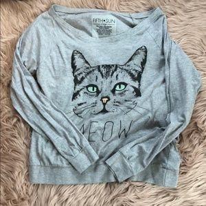 Fifth Sun Graphic Long Sleeve Meow Shirt XL